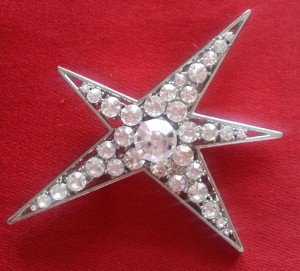 "Star pin (3-1/2"" at widest point), rhinestones sparkle like crystals"