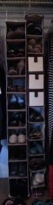 2 Vertical hanging cloth shoe organizers with board shelves