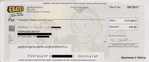 $19.55 Ebates Check Paid to Stephanae McCoy on 11/11/13