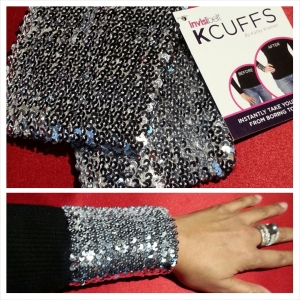 Top photo contains set of silver sequined KCUFFS. Bottom photo shows one of the KCUFFS on the sleeve of my black sweater.