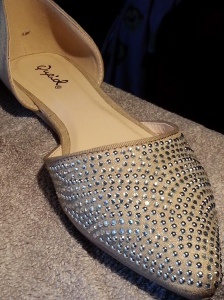 Qupid Pointer Two-piece Taupe flats. The Pointer has rhinestones and a pointy toe.