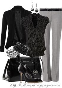 Black Blazer/Grey Pants, Sleeveless Blouse Pinterest via Visit riddlechick.polyvore.com