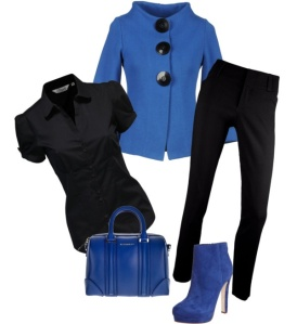 Black short-sleeved blouse & pants, Blue jacket with 3 large black buttons, blue handbag and boots.