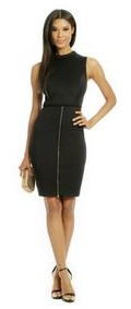 Mock neckline. Pencil skirt with exposed gold front zipper. Hidden back zipper with hook-and-eye closure. Lined.