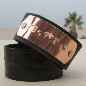 Serendipity leather cuff bracelet, available with any phrase that will fit, in copper or brass on smooth or textured leather.