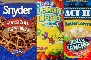 Pretzels, Chewy Lemonheads, Jolly Rancher Hard Candy and Butter Popcorn