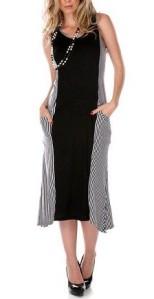 Black & White Striped Pocket Dress front