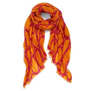 Echo Print Wool Scarf A crisp, abstract print lends modern sophistication to a crinkled wool scarf trimmed with eyelash fringe. Colors are shades of tangerine 30 inches wide by 80 inches long 100 percent wool. shop.nordstrom.com