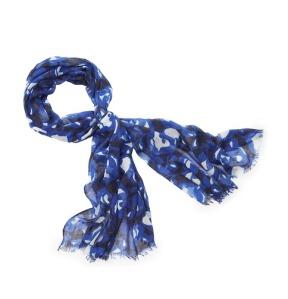 "Geometric Floral Print Scarf, Color Strong Blue 32"" x 70"" Light fringe at ends $34. www.loft.com"