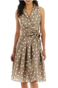 Jessica Howard Sleeveless Dot Collar Shirt Dress - JCPenney this mock wrap dress is ideal for the pear shape.