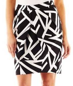 Liz Claiborne Geo-Striped Print Tulip Skirt, Black Multi $29 www.jcpenney.com