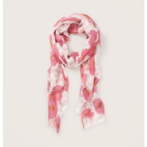 "Falling Poppy Print Scarf, Color Joyfull Pink, 70"" length x 25"" width. Light fringe at ends. $35 LOFT.COM"