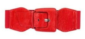 Notched stretch belt. Featuring faux leather front with buckle closure bodycentral.com