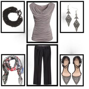 Rectangle Body Shape Pants, Top, Shoes, Scarf, Earrings & Bracelet