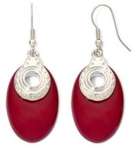 Red Silver-Tone Oval Earrings JC Penney