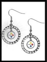 Steelers Rhinestone Hoop Earrings