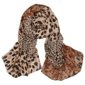 Women Fashion Long Soft Wrap Lady Shawl Leopard Chiffon Long Scarf Stole 70 inches long by 43 inches wide. Colors are shades of tan and black.