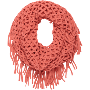 Women's Fringed Infinity Scarf loose knit 100 percent acrylic with fringes. Coral colored. www.lifeisgood.com