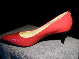 Monet Red Patent Kitten Heels with Black Heel