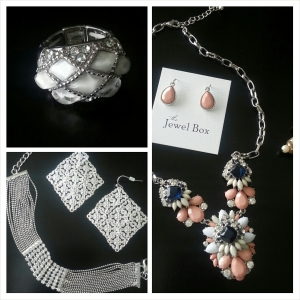 Silver Woven Stretch Ring, Coral Medallion Petal Necklace & Coral Dangles, Silver Diamond Filigree Earrings & CZ Bejeweled Bracelet all from Jewel Box