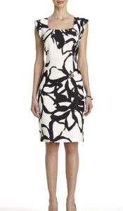 Black and white sheath dress with square neck from www.jny.com