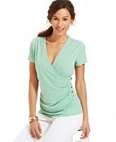 Charter Club Short-Sleeve Printed Faux-Wrap Top