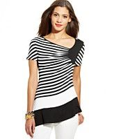 ECI Top, Short-Sleeve Striped Asymmetrical