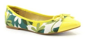 Green & Yellow Floral Barbara Ballet Flat