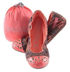 Brown & Coral Abstract Harmonia Leather Ballet Flat