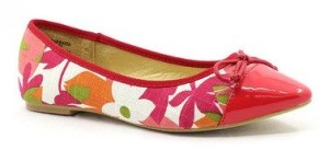 Red & White Floral Barbara Ballet Flat