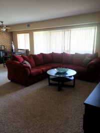 Living/dining room  with sliding glass door to deck
