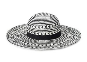 Black and White Patterned Straw Sun Hat from FOREVER21