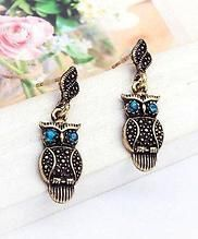Gold-bronze Antique Owl Dangle Earrings Crystal Vintage Retro Animal Gold Bird Mod Aqua Blue Crystal Pave Posts Fashion Jewelry Shop Lately