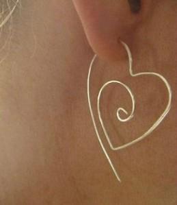 Sterling Silver Tribal Heart Hoop Earrings, Romantic Organic Hoops Etsy