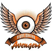 Avengers Logo is an image of an eyeball with wings on either side and a banner under the eye that reads Sight-Saving Avengers.