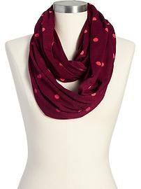 Trending Tuesdays: Seeing Old Navy Burgundy with Pink Polka Dots Infinity Scarf
