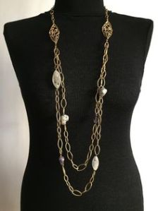 Alexis Bittar Exquisite Gold Chain with Stones Necklace
