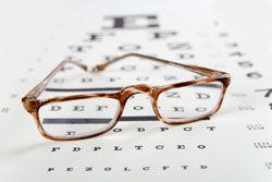 Eyeglasses on top of an eyechart
