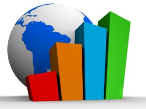Image of a bar graph overlapping a globe to symbolize global statistics