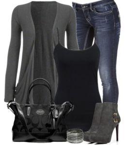 Grey long cardigan, grey boots, black tank, black handbag, blue denim jeans.