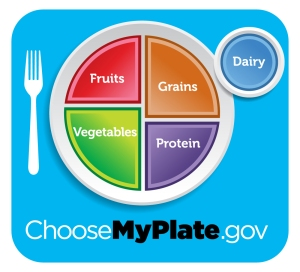 Image of plate containing fruits/veggies, grains & protein from choosemyplate.gov