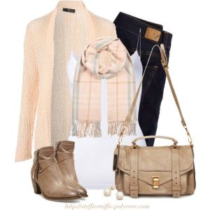 Pastel Plaid Scarf, cardigan appears to be a blush color & ankle boots by steffiestaffie found on Polyvore. White tank, black denim, beige ankle boots & handbag