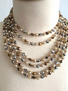 Vintage Pearls and Beads Multi-strand Necklace