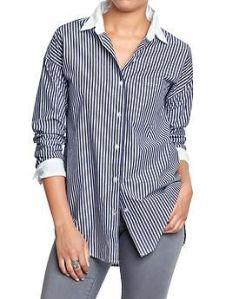 Womens Pinstriped Boyfriend Shirts