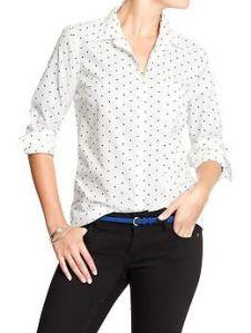 Womens Polka-Dot Button-Front Shirts
