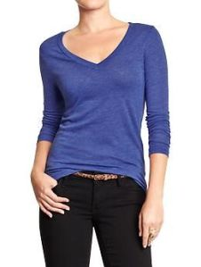 Womens Vintage-Style V-Neck Tee