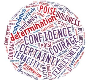 Word Cloud containing the following words confidence certainty courage determination poise spirit tenacity boldness fearlessness fortitude