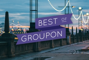 Image of what appears to be a bridge with the words Best of Groupon on top
