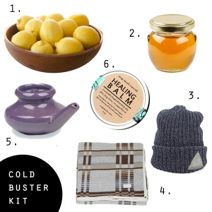 Cold Buster Kit containing lemons, honey, hat, blanket, neti pot and healing balm image found on Pinterest via FJ