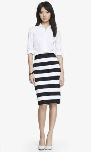 02-19-15 High waist elastic stripe midi pencil skirt